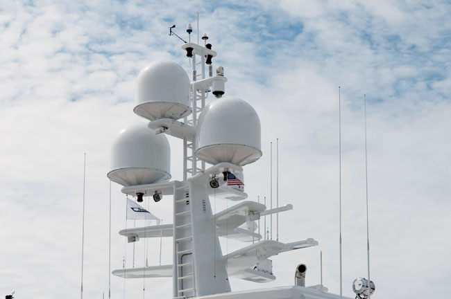 hdtv satellite television yacht antenna stack for a yacht