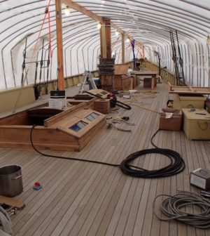 The Schooner Virginia, a modern wooden replica of a pilot schooner of the same name built in 1916 is currently undergoing a major re-fit after being mothballed for several years